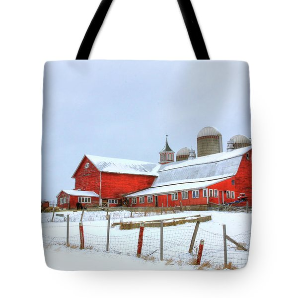Tote Bag featuring the digital art Vermont Barn by Sharon Batdorf