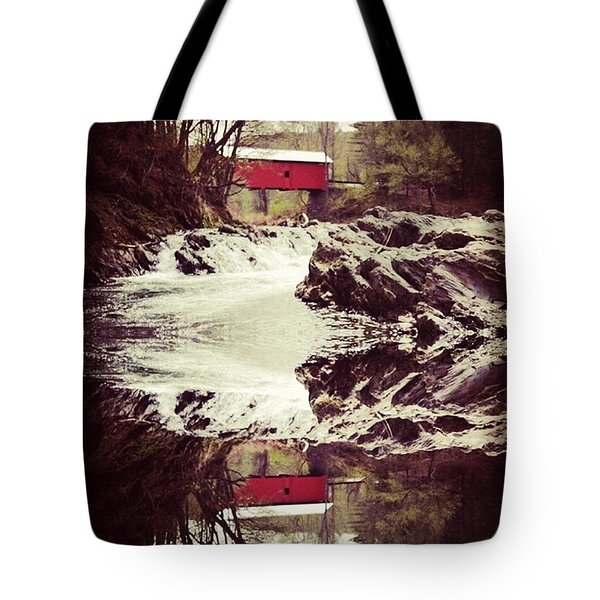Vermont Covered Bridge In Reflection Tote Bag