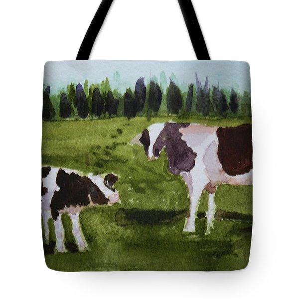 Tote Bag featuring the painting Vermont Cow And Calf by Donna Walsh
