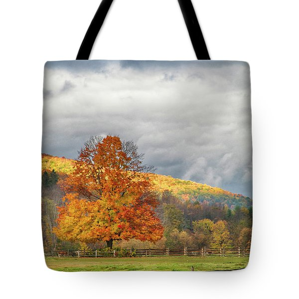Tote Bag featuring the photograph Vermont Fall Colors After The Rain by Jeff Folger