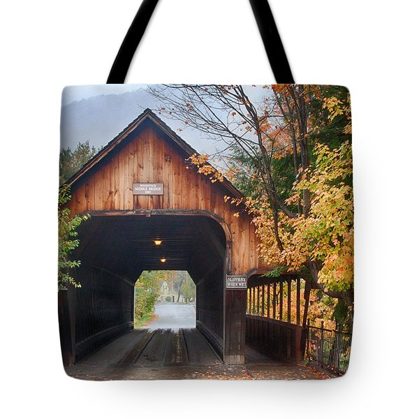 Vermont Fall Colors Over The Middle Bridge Tote Bag