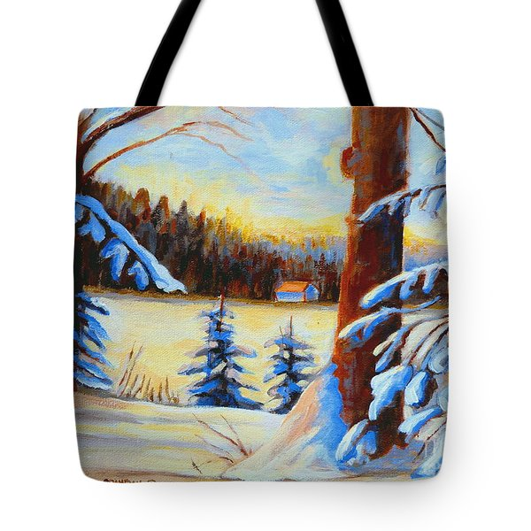 Vermont Log Cabin Maple Syrup Time Tote Bag by Carole Spandau