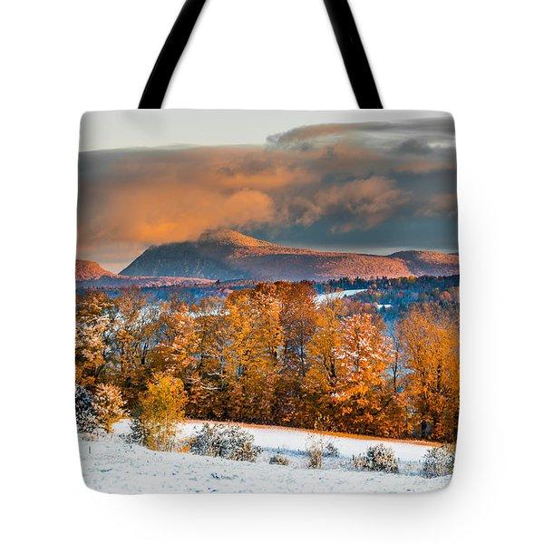 Vermont Snowliage Scene Tote Bag