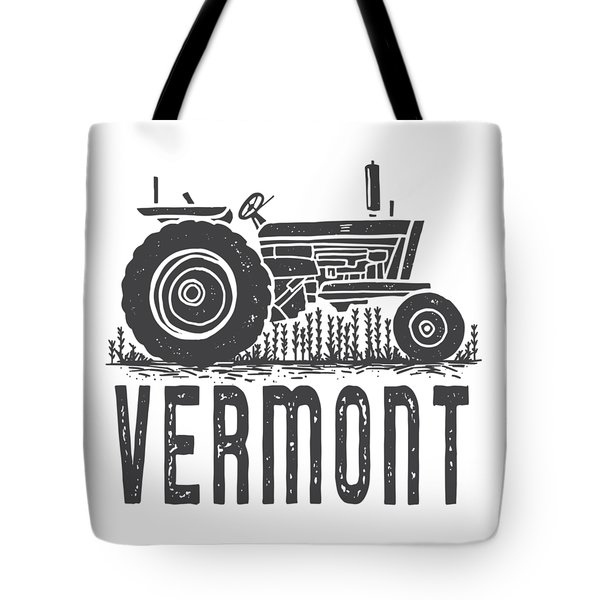 Tote Bag featuring the digital art Vermont Vintage Tractor Tee by Edward Fielding