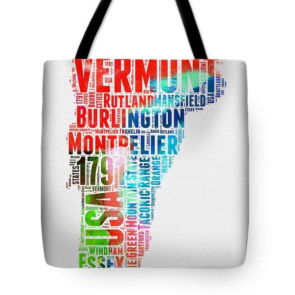Vermont Watercolor Word Cloud  Tote Bag