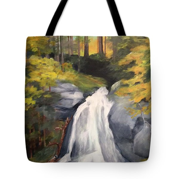 Tote Bag featuring the painting Vermont Waterfall by Ellen Canfield