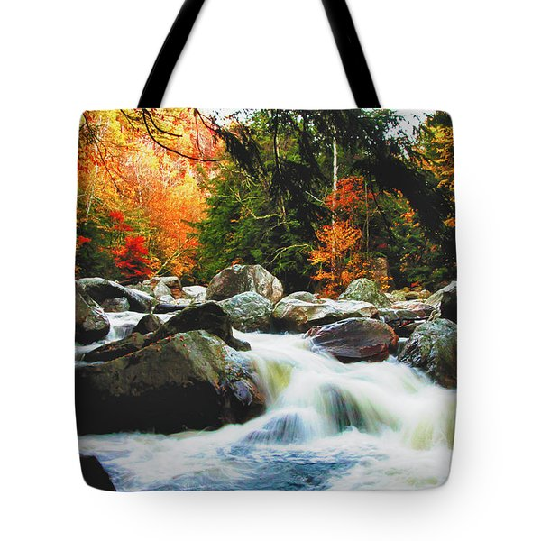 Tote Bag featuring the photograph Vermonts Fall Color Rapids by Jeff Folger