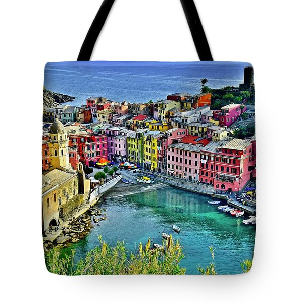 Vernazza Alight Tote Bag by Frozen in Time Fine Art Photography