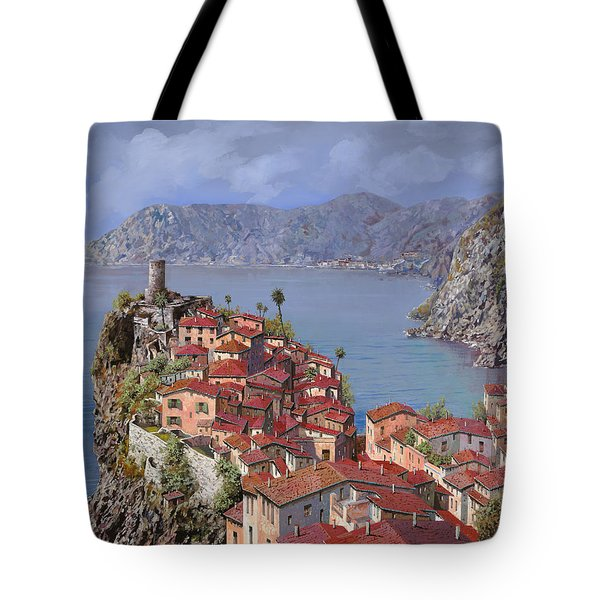 Tote Bag featuring the painting Vernazza-cinque Terre by Guido Borelli