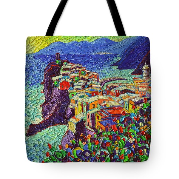Vernazza Cinque Terre Italy 2 Modern Impressionist Palette Knife Oil Painting By Ana Maria Edulescu  Tote Bag
