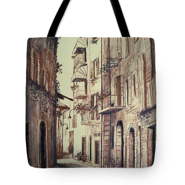 Verona Drawing Of A Narrow Street Tote Bag