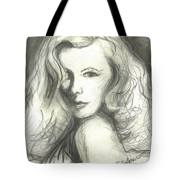 Tote Bag featuring the mixed media Veronica Lake by Denise Fulmer