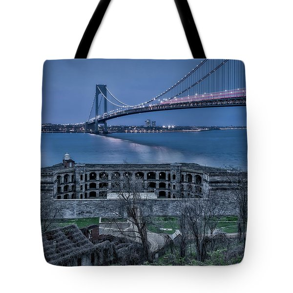 Tote Bag featuring the photograph Verrazano Narrows Bridge Full Moon by Susan Candelario