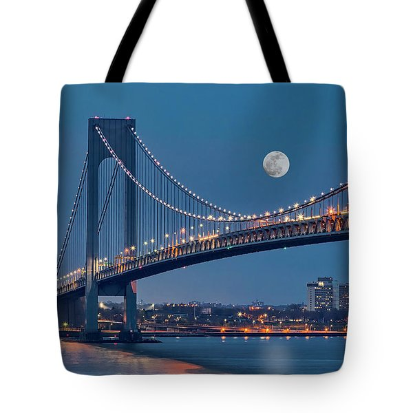 Tote Bag featuring the photograph Verrazano Narrows Bridge Moon by Susan Candelario