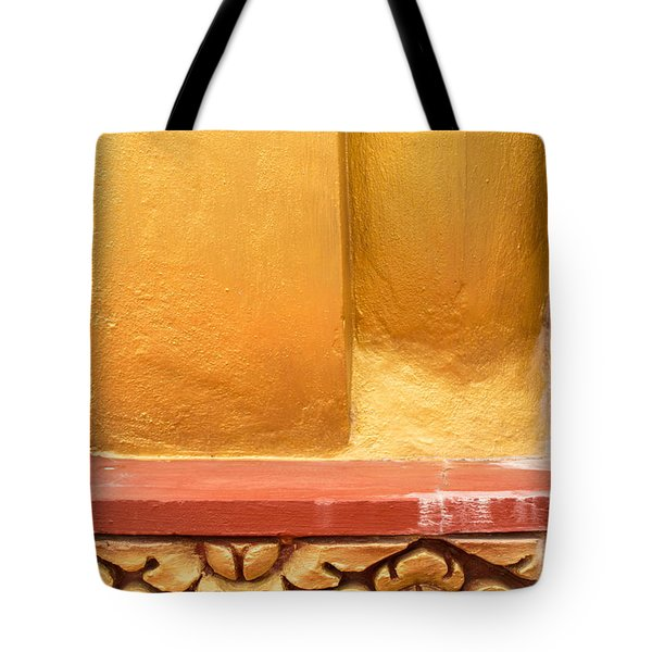 Vertical Abstract View Of Golden Section Of Buddhist Pagoda With Gold Floral Trim Below Tote Bag