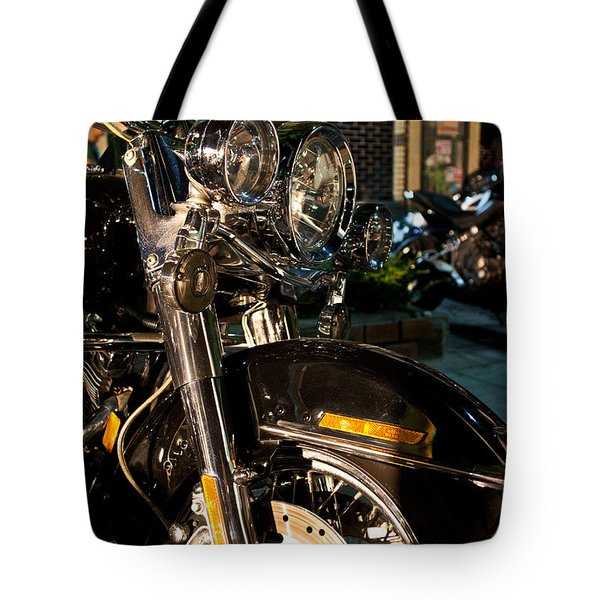 Vertical Front View Of Fat Cruiser Motorcycle With Chrome Fork A Tote Bag by Jason Rosette