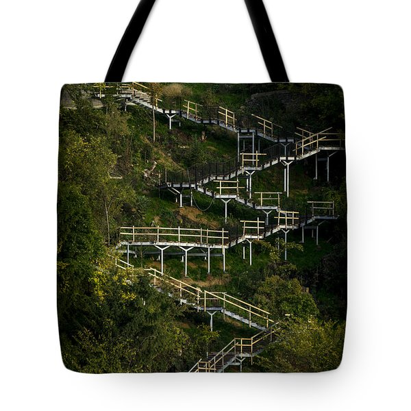 Vertical Stairs Tote Bag by Celso Bressan