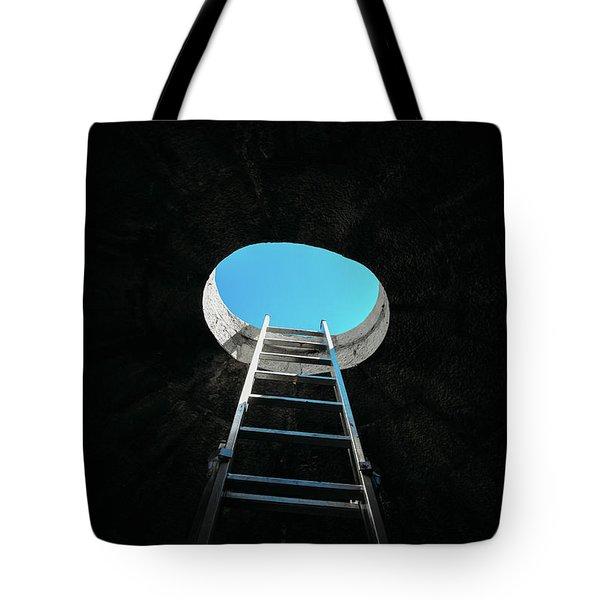 Vertical Step-ladder On Ceiling Window  Tote Bag