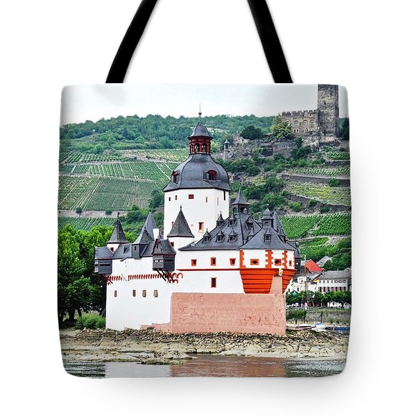 Vertical Vineyards And Buildings On The Rhine Tote Bag