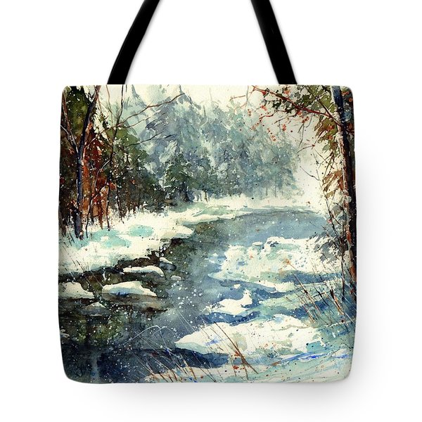 Very Cold Winter Watercolor Tote Bag
