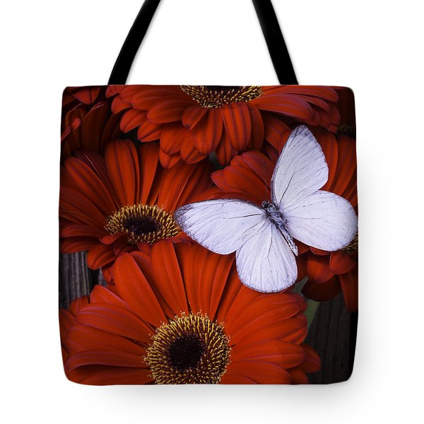 Very Red Daisies With Butterfly Tote Bag