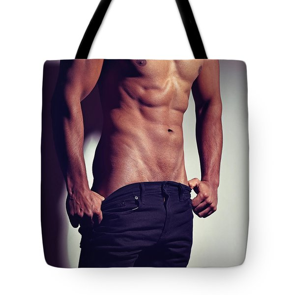 Very Sexy Man With Great Muscular Body Tote Bag