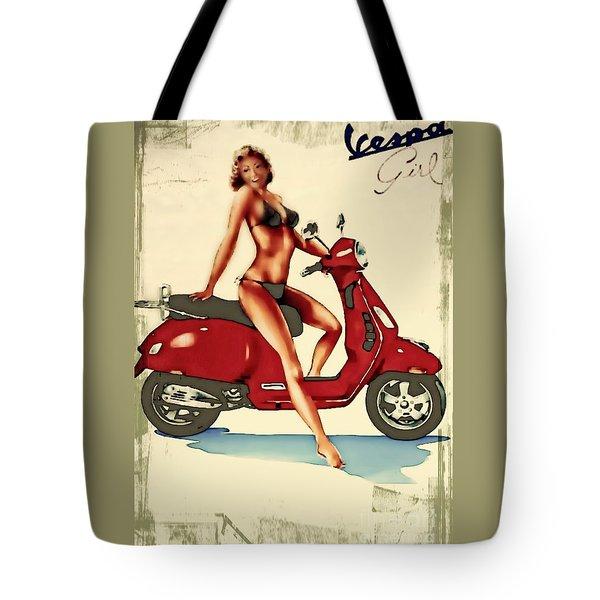 Vespa Girl - Vintage Poster Tote Bag