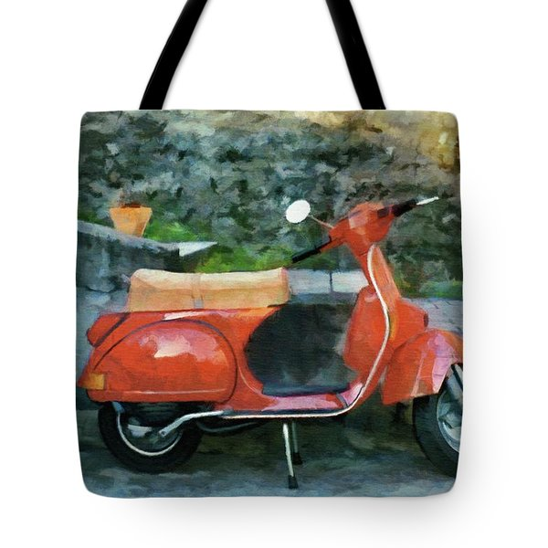 Tote Bag featuring the painting Vespa Parked by Jeff Kolker