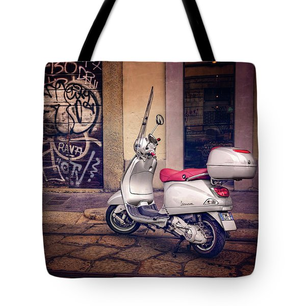 Tote Bag featuring the photograph Vespa Scooter In Milan Italy  by Carol Japp