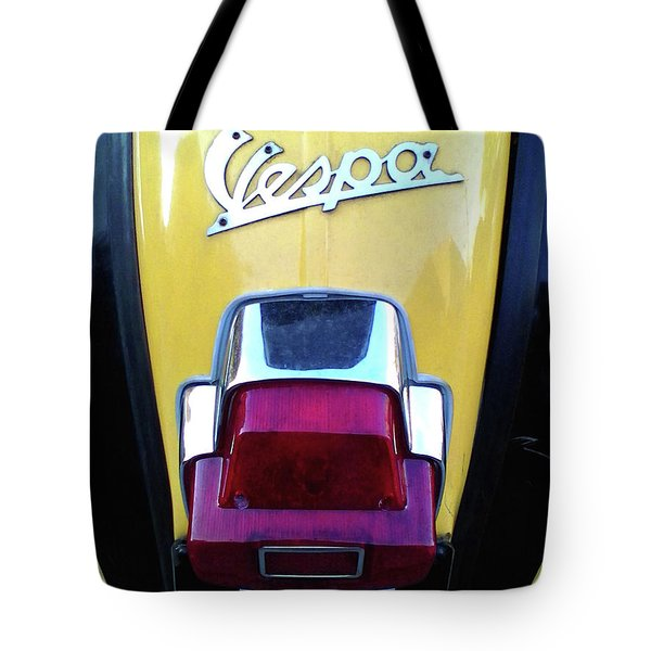 Tote Bag featuring the photograph Vespa Style by Rebecca Harman