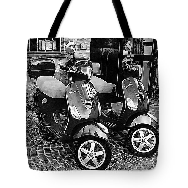 Vespa Twins Black And White Tote Bag