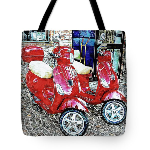 Vespa Twins Red Tote Bag