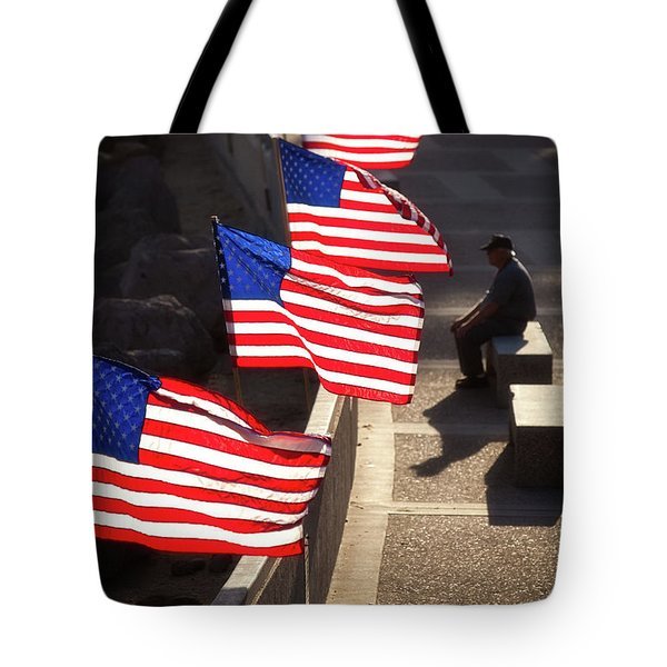 Veteran With Our Nations Flags Tote Bag