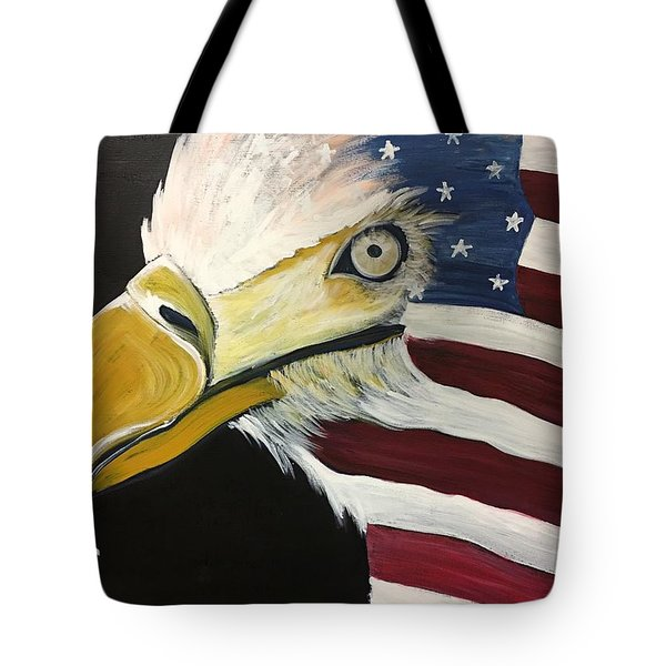 Tote Bag featuring the painting Veteran's Day Eagle by Laurie Maves ART
