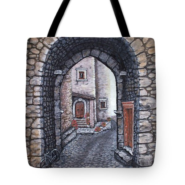 Tote Bag featuring the painting Via In Santo Stefano by Judy Kirouac