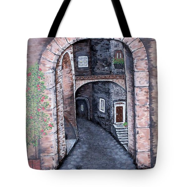 Tote Bag featuring the painting Via In Scanno by Judy Kirouac