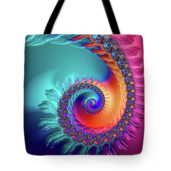 Vibrant And Colorful Fractal Spiral  Tote Bag