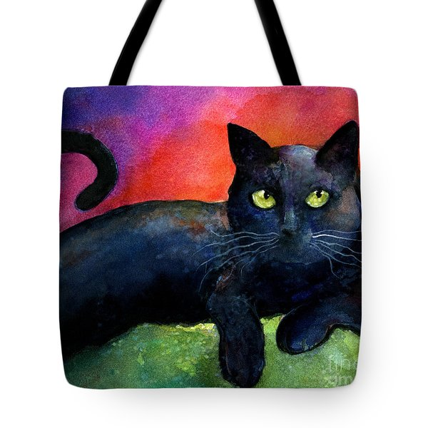 Vibrant Black Cat Watercolor Painting  Tote Bag