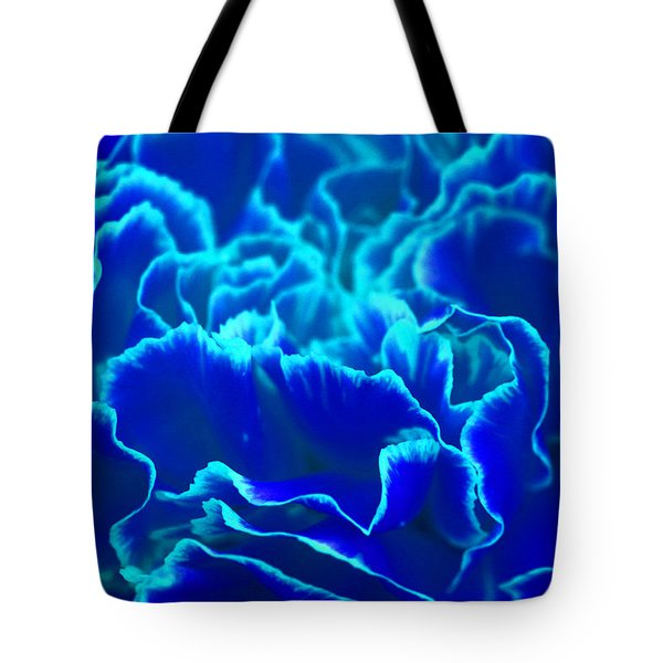 Tote Bag featuring the photograph Vibrant Blue And Turquoise Carnation Flower by Shelley Neff