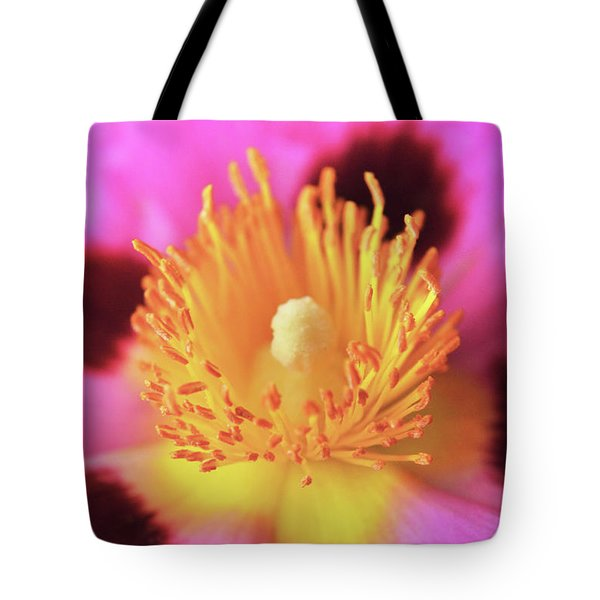 Tote Bag featuring the photograph Vibrant Cistus Heart. by Terence Davis