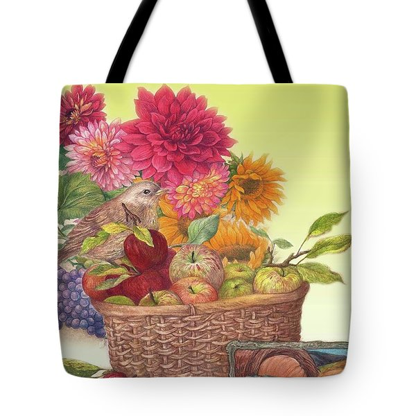 Tote Bag featuring the painting Vibrant Fall Florals And Harvest by Judith Cheng