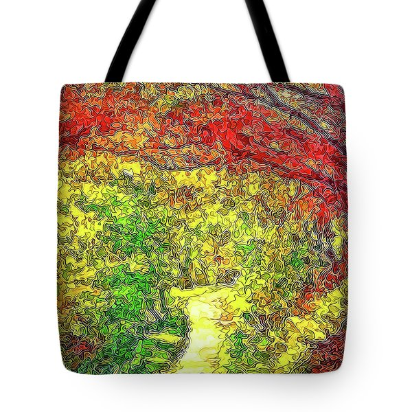 Tote Bag featuring the digital art Vibrant Garden Pathway - Santa Monica Mountains Trail by Joel Bruce Wallach