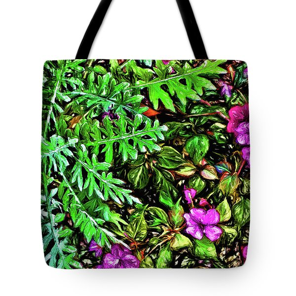 Tote Bag featuring the digital art Vibrant Garden by Terry Cork
