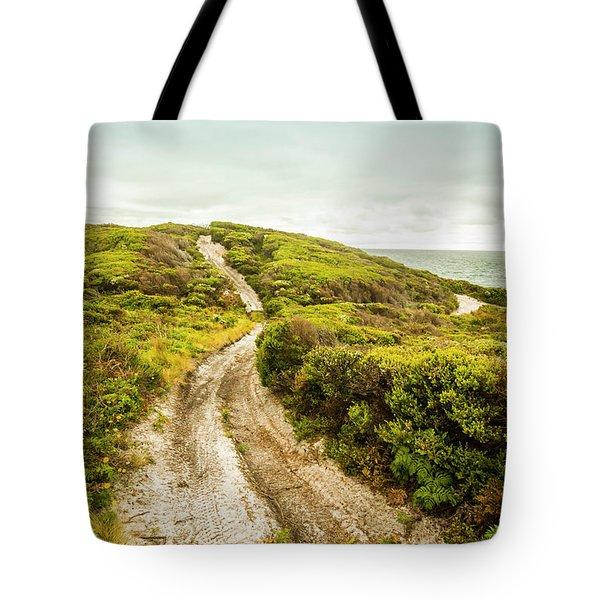 Vibrant Green Hills And Ocean Tracks Tote Bag