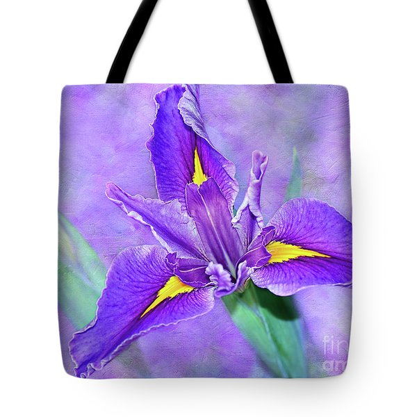 Tote Bag featuring the photograph Vibrant Iris On Purple Bokeh By Kaye Menner by Kaye Menner