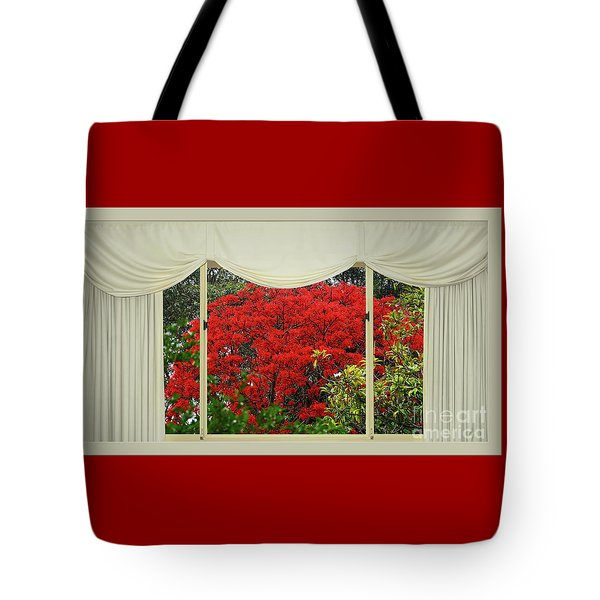 Tote Bag featuring the photograph Vibrant Red Blossoms Window View By Kaye Menner by Kaye Menner