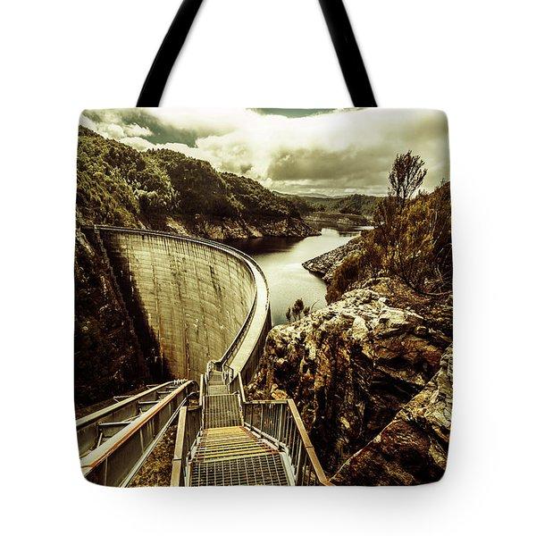 Vibrant River Dam Tote Bag