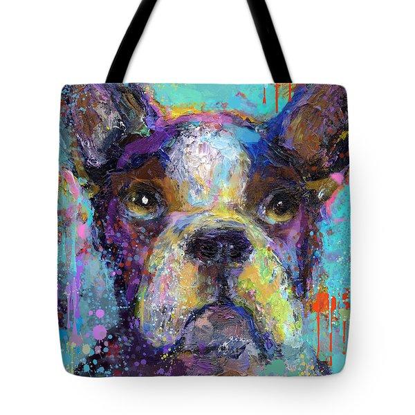 Vibrant Whimsical Boston Terrier Puppy Dog Painting Tote Bag by Svetlana Novikova