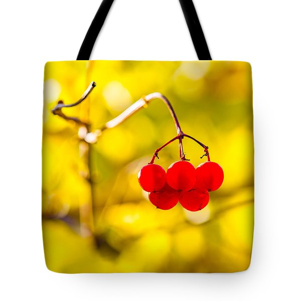Tote Bag featuring the photograph Viburnum Berries - Natural Olympic Emblem by Alexander Senin