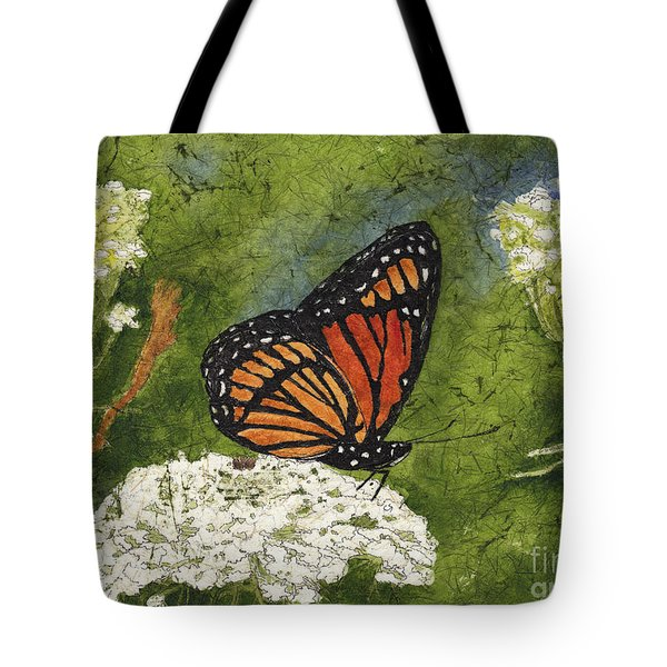 Viceroy Butterfly On Queen Anne's Lace Watercolor Batik Tote Bag